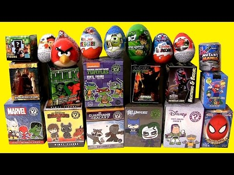 32 Superheroes Surprise Eggs + Blind Bags + Mystery Boxes Marvel Vs. DC Comics Unboxing