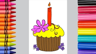 Coloring Page For Children To Learn To Color Birthday Cupcake