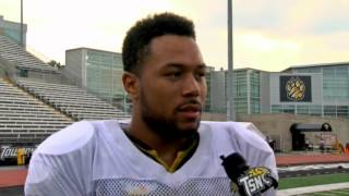 Towson Football Senior Wide Receiver Spencer Wilkins talks with TSN after practice
