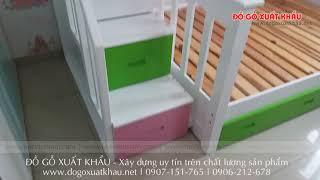Giường tầng cao cấp cho bé gái tại TPHCM - Giường tầng gỗ cao cấp HAPPY