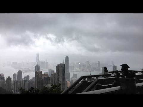 LIVE: Typhoon HATO hits Hong Kong as seen from the Peak.