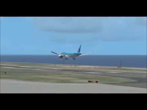 fsx pmdg777 Korean air landing at Hong Kong,Chek lap kok int'l airport