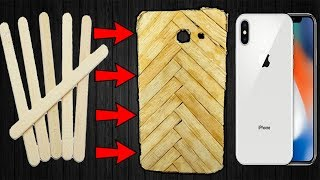 Diy phone cover From Popsicle Sticks | How To Make Mobile Cover Case At Home With Ice Cream Sticks