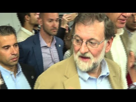 Rajoy leaves hotel in Catalonia during first visit