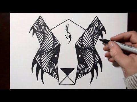 Most Satisfying Freehand Animal Drawing - Sad Panda
