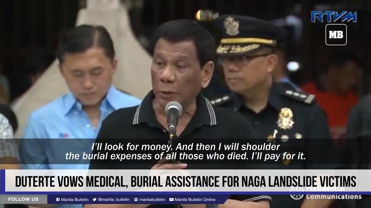 Duterte vows medical, burial assistance for Naga landslide victims