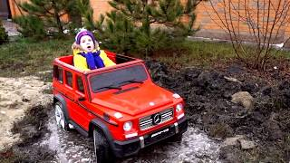 Funny Baby accident Stuck in the mud TOWING Ride on POWER WHEEL Red Car and 4wd Car Quad Bike