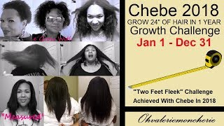 "👩🏿 2018 CHEBE Growth Challenge KICKOFF 👩🏿 Grow 24"" In 1 Year! Join! TWO FEET of Hair!"