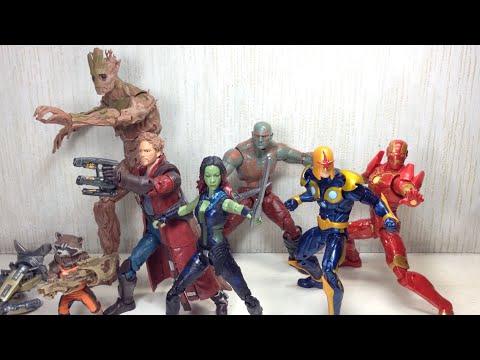 Guardians of the Galaxy Marvel Legends Groot, Rocket, Drax, Gamora, Star Lord, Nova, Iron Man Toy Re