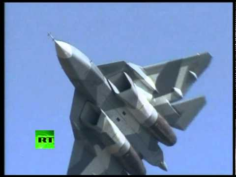 Russian Stealth  1st public flight: Sukhoi PAK FA T-50 at MAKS airshow