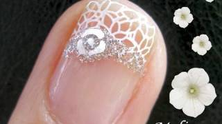 Konad Nail Art Stamping Tutorial - Floral Royal Wedding Band Bridal Design for Short Nails