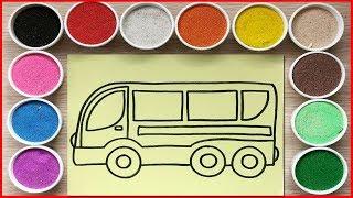 Đồ chơi trẻ em TÔ MÀU TRANH CÁT XE BUÝT MÀU ĐỎ - Colored sand painting bus toys (Chim Xinh)