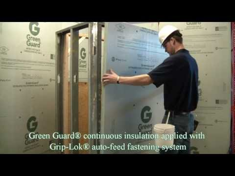 In this video from Rodenhouse Inc. you will see 4 methods of attaching Green Guard continuous insulation including first our Grip-Lok® auto-feed fastening sy...