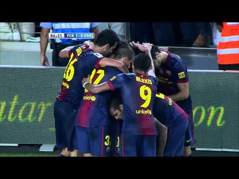 Gol de Xavi Hernández (1-0) en el FC Barcelona - Granada CF Jornada 5