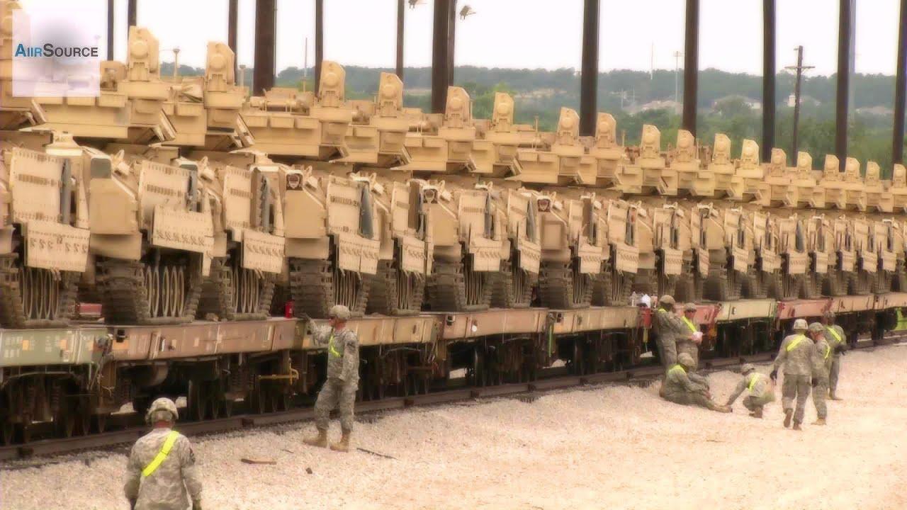 "M1 Abrams Tanks & Bradleys - ""Iron Horse Brigade"" Railhead Operations ..."
