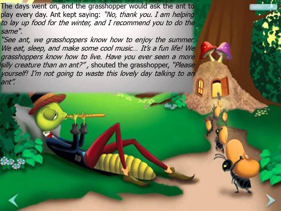 Grasshopper and ant cartoon