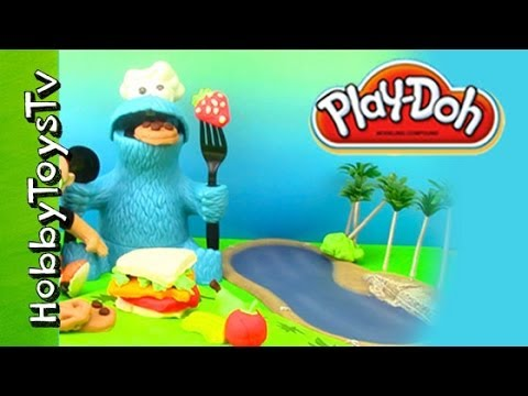 Play-doh Picnic With Cookie Monster, Little Einstein! Angry Bird Steals Sandwich[disney] Hobbytoystv video