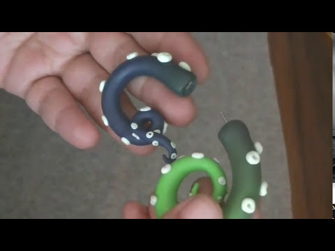 Gradient Glow-in-the-Dark Tentacle *Fake Stretched Ear* Large Gauge Earring Polymer Clay Tutorial