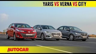 Toyota Yaris vs Hyundai Verna vs Honda City | Comparison Test Review | Autocar India