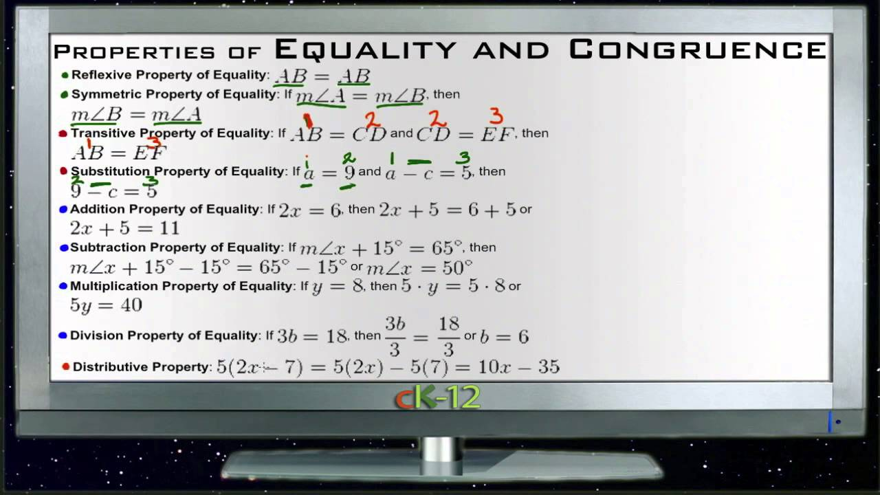 Property of Equality Geometry Properties of Equality And