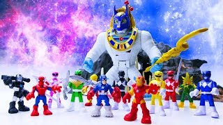 Toys Play Time Power Rangers vs Avengers GIANT Mummy Boss Toy Action Short Movie For Kids 2018 #3