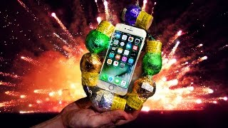 Can iPhone 7 Survive 100 FT Throw Inside Giant Mortar Round Firework Case? (Warning: Explosions:)