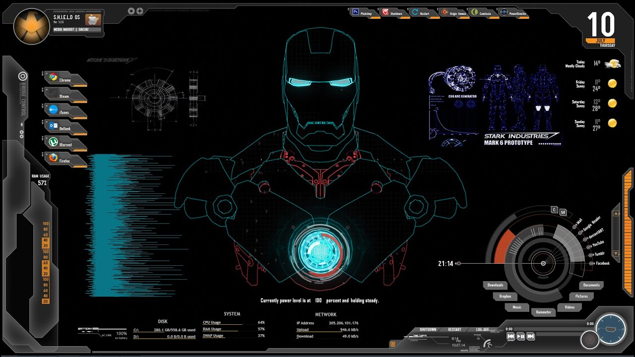 How to install rainmeter with iron man tony stark j a r v i s background windows 8 youtube - Iron man jarvis background ...