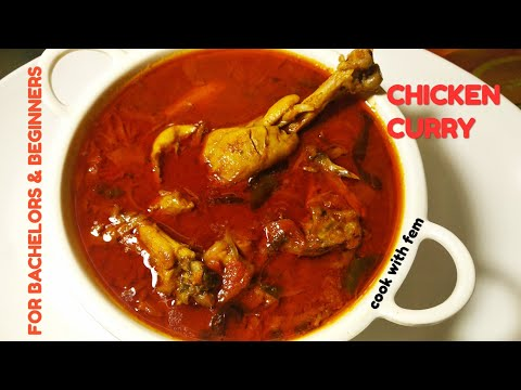 Simple & Quick Chicken Curry For Bachelors & Beginners | झटपट बनने वाली चिकन करी  - Cook With Fem