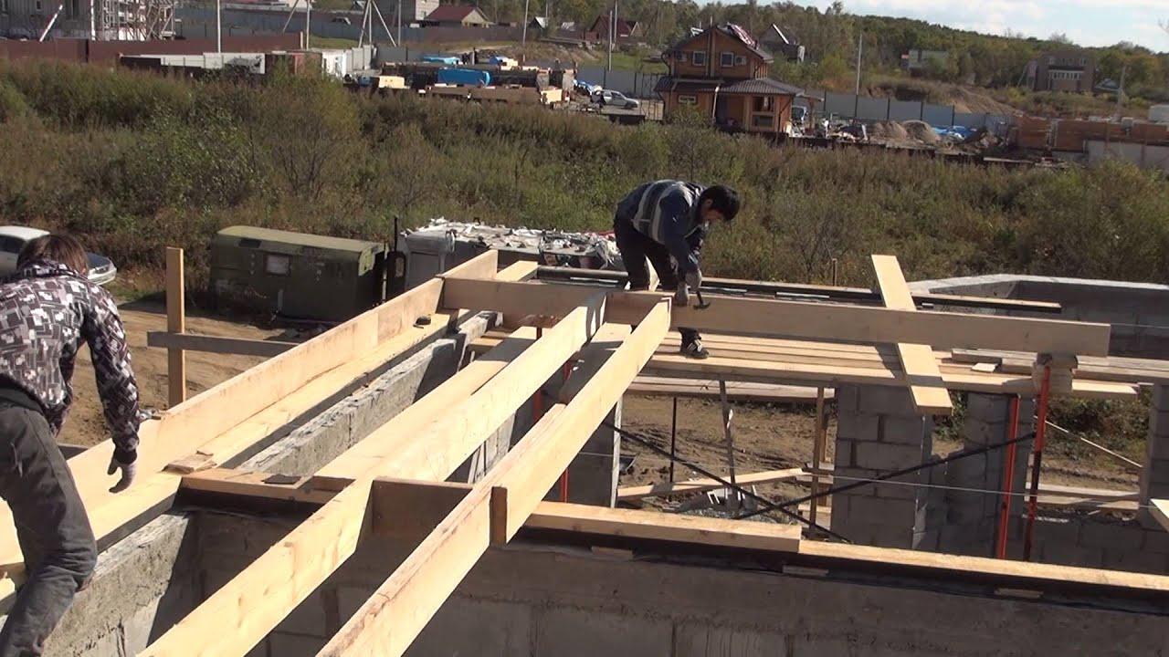 Деревянное перекрытие с крышей своими руками