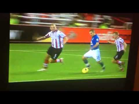 Leon Osman kicks floor and wins penalty