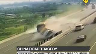 China road tragedy: Cars moving against traffic collided