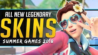 Overwatch ALL NEW SKINS - Summer Games 2018 - Emotes Voice Lines & more!