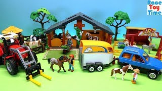 Playmobil Farm Tractor Playset plus Horse Pony Stables Fun Toys For Kids