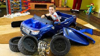 Cars video for kids Assembling and Ride on Power Wheels Ford Family fun playtime Toys video for kids