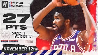 Joel Embiid Full Highlights vs Cavaliers (2019.11.12) - 27 Pts, 4 Ast, 16 Reb, GAME-WINNER!