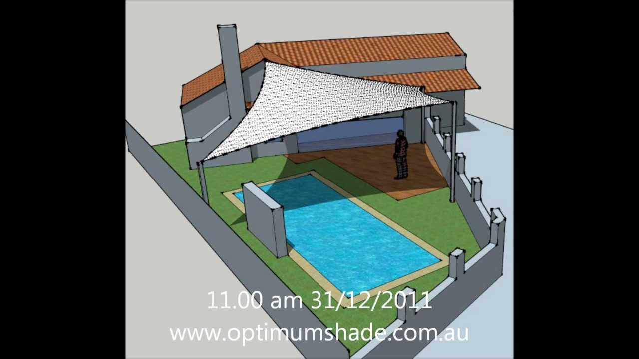 Shade Sail Over Swimming Pool Wmv Youtube
