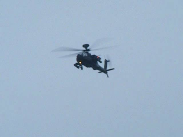 Apache Helicopter Gunship flying over the Mach Loop, North Wales