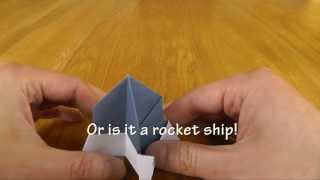 Origami Transformations- A Frog Transforms Into A Rocket Ship,a Lunar Lander And A Cup