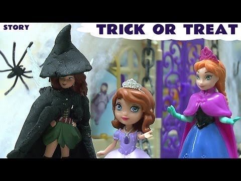 Trick Or Treat Halloween Play Doh Frozen Fairy Princess Sofia Anna Queen Elsa Story Pirate Fairy