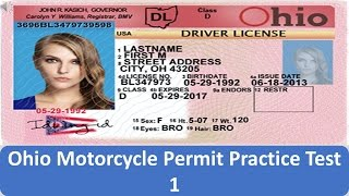 Ohio Motorcycle Permit Practice Test 1