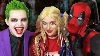 DEADPOOL gets Between JOKER & HARLEY QUINN - Real Life Superhero Movie