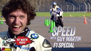 Guy's bike VS Red Bull F1 Car - the Slalom test | Guy Martin Proper