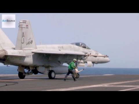 US Military Pounding on ISIS: F/A-18 Carrier Launch & Recovery