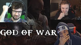 God of War - Players Reacts To An Epic Moment 😃 (Jacksepticeye, Elajjaz, Kwitty) SPOILERS!