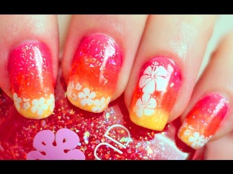 Hawaiian Punch Nail Tutorial (Konad Stamping with Sponge Gradient)