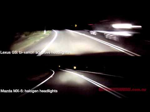 Xenon vs. Halogen headlight comparison (also Static vs. Adaptive headlights)