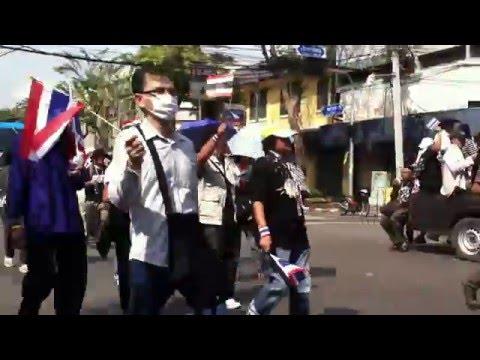 Bangkok Thailand Rally Blocking Traffic