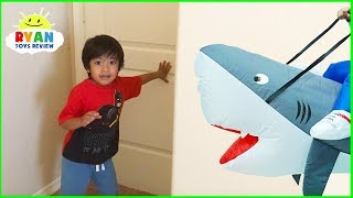 Ryan Pretend Play with Shark Inflatable toys Hide and Seek!!!