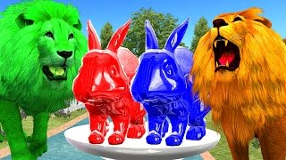 Colourful Lion Vs Rabbit Colour Song For Popular Nursery Rhymes || 3D Colour Rhymes For Childern