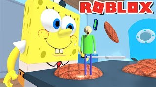 ESCAPE GIANT SPONGEBOB COOKING PATTIES AS BALDI!! | The Weird Side of Roblox: Krusty Krab Obby